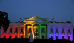 White House lit in rainbow colors