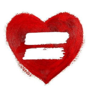 Red heart with white equal sign