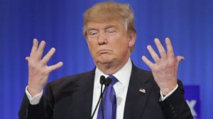 Trump holding up hands with tiny fingers